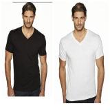 White Blank Men′s Cheap V Neck T Shirt