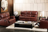 Genuine Leather Chaise Leather Sofa Electric Recliner Sofa (725b)