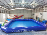 inflatable swimming square pool with single tube