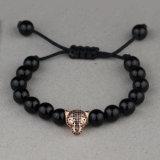 Matt Agate Bead Leopard Head Charm Bracelet Jewelry Msbb024