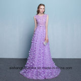 Long Evening Dress Lace Flower Sleeveless Floor-Length Prom Party Gowns