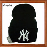 Hot Sale Black Acrylic 3D Embroidery Kintted Caps