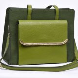 Green Hard Masonry Retro Handbags, PU Elegant Ladies Handbags