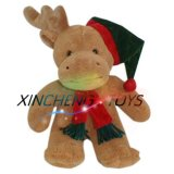 Plush Moose Toy, Plush Christmas Toys and Stuffed Plush Moose with a Scarf and Hat