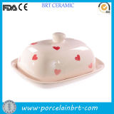 Sweet Design Hearts Printed Butter Plate with Lid