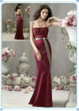 Maxi Burgundy Evening Dress Backless Graceful