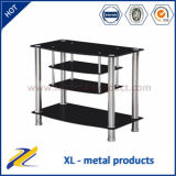 4-Tier Modern Metal Glass LCD TV Floor Stand