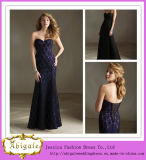 New Design Sheath Black Lace with Sweetheart Floor Length Lace up Back Dresses Evening (LH0036)