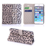 Stand Wallet Design Fashion Leopard Leather Cases with Card Slat for iPhone 6