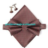 Economic Promotional Multi Colors Checks Mens Pocket Square Cufflink Self Bowtie Set