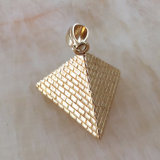 18K Gold Custom Metal Jewelry Pyramid Pendant Mjhp088