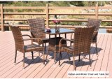 Garden Cane and Wicker Chair with Rattan Dining Table