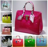 Customized Colors Candy Jelly Beachkin Hand Bag with Twilly Scarf (XP1067)