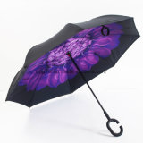 Hot Sale Customized Double Layer C Shape Handle Inverted Umbrella