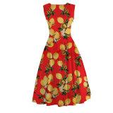 Plus Size Women A Line Lemon Printed Dress Small MOQ