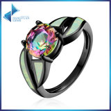 Glass & Opal Gemstone Finger for Women 925 Sterling Silver Jewelry Ring