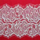 Customized White Flower Pattern Wrap knitting Jacquard Eyelash Lace by The Yard