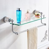 FLG Bathroom Fitting Chrome Glass Double Layer Shelf Wall Mounted