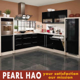 Modern High Gloss Black MDF Lacquer Kitchen Cabinet