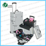 Aluminium Makeup Trolley Beauty Fashion Cosmetic Case with 2-Drawers (HX-PT004)