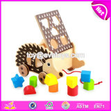 New Design Kids Pull and Push Wooden Toy Hedgehog W05b159