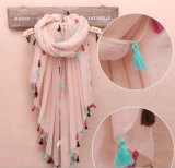 Soft Large Beach Holiday Travelling Shawl Cotton Scarf with Tassel