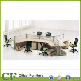 Glass Divider 120 Degree 6 Person Office Workstation