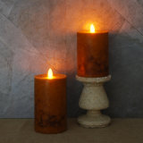 LED Flameless Candle, Rustic Orange