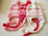 Fashion Jacquard Knitted Wool Children Hat with Tassels and Earflaps