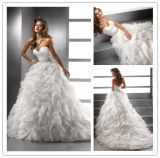 Latest Fashion Sweetheart Open Back Empire Waist Layered Organza Skirt Wedding Gown Sample Pictures Wedding Dress