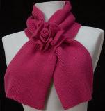 Lady Fashion Acrylic Knitted Flower Scarf (YKY4138)