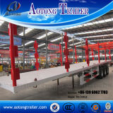 3 Axles Low Flatbed Semi Truck Trailer with Column
