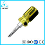 Plastic Handle Cr-V Steel Double Way Stubby Screwdriver