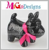 Attractive Black Dog Ceramic Piggy Bank Table Decor