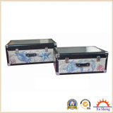 2-PC Wooden Suitcase Trunk with Fabric Marine Pattern Print