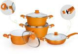 Ceramic Coating Casting Aluminum Cookware with Detachable Bakelite Handles
