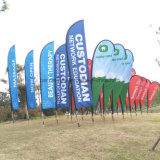 Customized Fiberglass Pole Teardrop Beach Feather Flying Flag (SU-FG37)