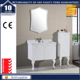 White Lacquer Bathroom Cabinet Unit with Side Cabinet