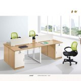 Simple Stylish Wooden Parition Office Workstation for 2 People