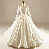 Long Sleeve Satin Crystal Bridal Dress Wedding Gown