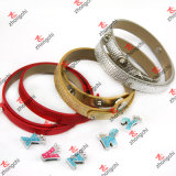 Classic 8mm Double Circle Leather Bracelet Jewelry for Lady (B-24)
