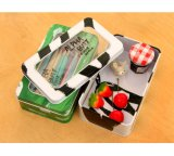 Double-Decked Stationery Tin Case Window Cosmetic Tins