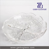 "9"" 4 Section Glass Tray Glass Plate"