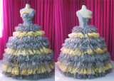 Cake Shape Skirt with Organza Layers Georgous Prom Dress