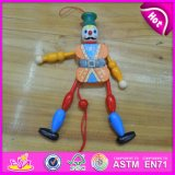 2016 Hot Sale Wooden Cartoon Clown Puppet, Top Sale Wooden Pull Toy Puppet, Best Fashion Kid Toy Wooden Puppet W02A058d