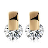 Beautiful Jewelry Platinum Zircon Earrings Round Design for Women