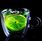 Eco-Freindly Double Wall Glass Juice Cup with Handle