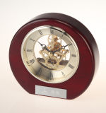 Round Desk Clock W/Silver Skeleton Movement