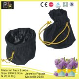 Black Rope Faux Suede Drawstring Pouch (2230)