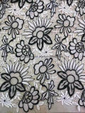 White and Balck Double Color 100% Polyester Lace Fabric Garment Accessorie for Dress 0009